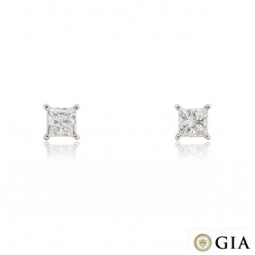 White Gold Princess Cut Diamond Earrings 3.42ct TDW I/VS2